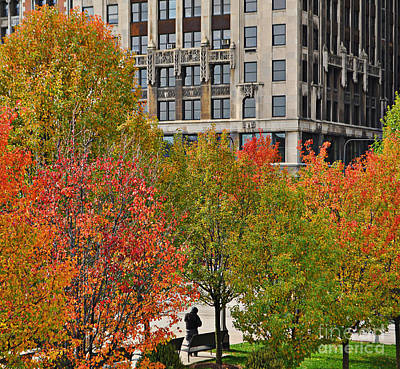 Chicago In Autumn Print by Mary Machare