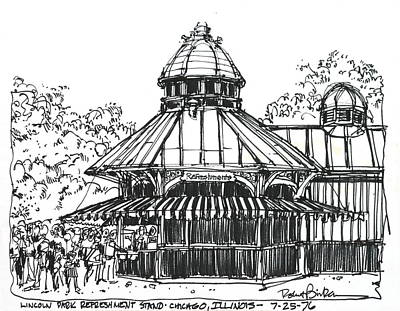 Drawing - Chicago Lincoln Park Zoo by Robert Birkenes