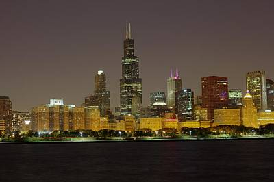 Art Print featuring the photograph Chicago Night Skyline by Peter Ciro