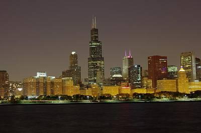 Chicago Night Skyline Art Print by Peter Ciro