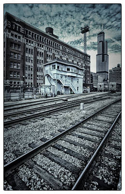 Duo Tone Photograph - Chicago Rail Station by Donald Schwartz