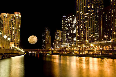 Chicago River Moon Original by Adam Bykowski