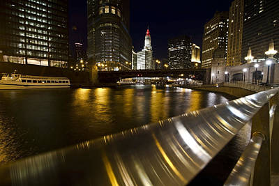 Chicago Riverwalk And Reflections Art Print by Sven Brogren