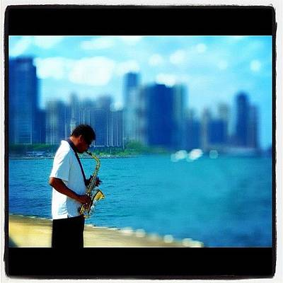 Jazz Wall Art - Photograph - #chicago #sax #saxophone #lake #city by David Sabat