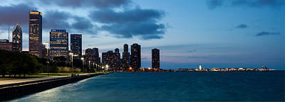 Photograph - Chicago Skyline And Navy Pier At Dusk by Semmick Photo