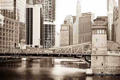 Chicago Skyline At Lasalle Street Bridge Art Print