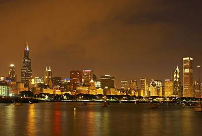 Chicago Skyline At Night Print by Axiom Photographic