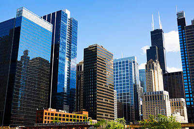 Chicago Skyline Downtown City Buildings Art Print by Paul Velgos