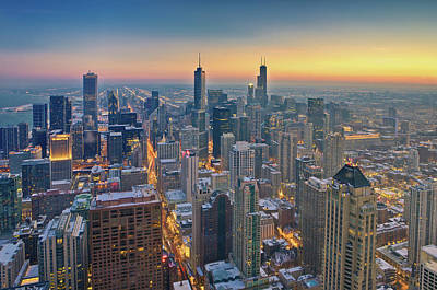 Chicago Skyline In Blue Hour Art Print by Delobbo.com