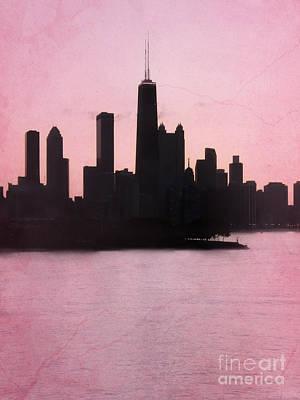 Chicago Skyline In Pink Art Print by Sophie Vigneault