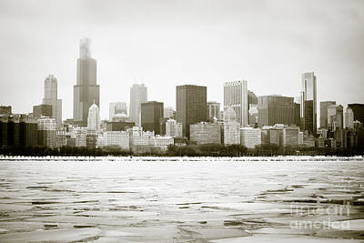 Chicago Skyline In Winter  Art Print