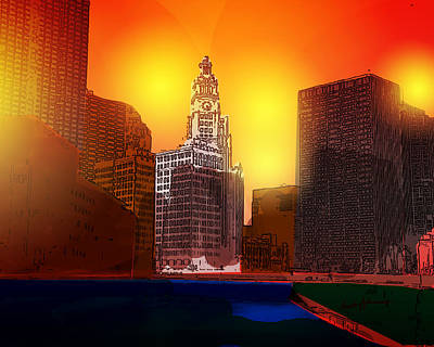 Wrigley Digital Art - Chicago Sunset by Anthony Caruso