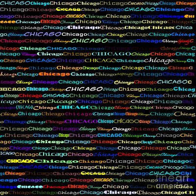 Digital Art - Chicago Text Design I by Susan Stevenson