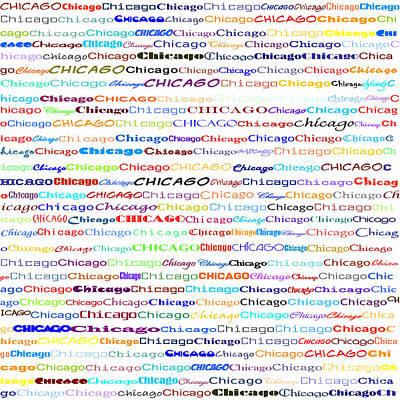 Digital Art - Chicago Text Design II by Susan Stevenson