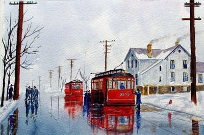 Cta Painting - Chicago Trolley Red Rocket by Lawrence Welegala