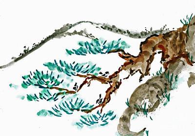 Katsu Painting - Chick-a-dee Threesome  by Ellen Miffitt