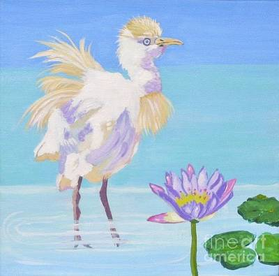 Painting - Chick And  Water Lily by Phyllis Kaltenbach