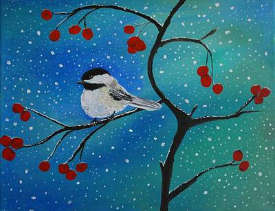 Painting - Chickadee Cutey by Leslie Allen