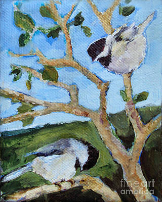 Painting - Chickadees by Diane Ursin