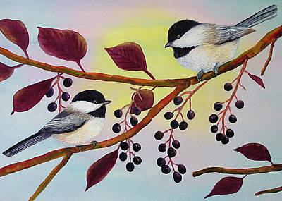 Chokecherry Painting - Chickadees In The Chokecherry by Dee Carpenter