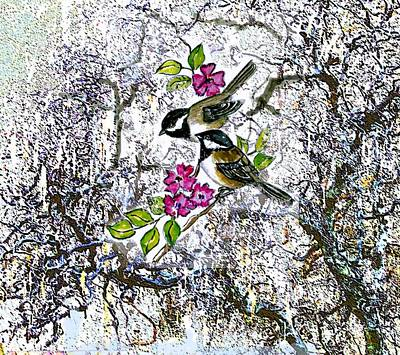 Chickadee Mixed Media - Chickadees In The Filbert Tree by Norma Boeckler