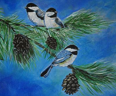 Painting - Chickadees by Leslie Allen