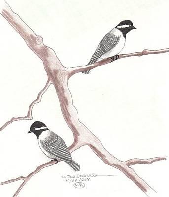 Chickadees Art Print by William Deering