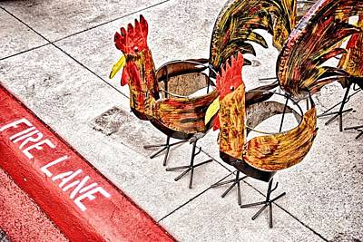 Chicken Crossing Art Print by Ken Williams