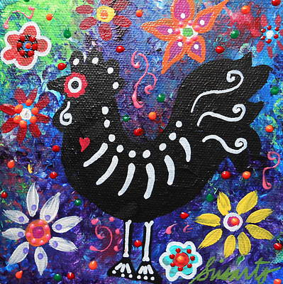 Chicken Day Of The Dead Print by Pristine Cartera Turkus