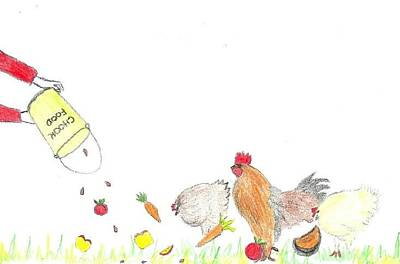 Carrot Drawing - Chicken Feed by Julie Butterworth