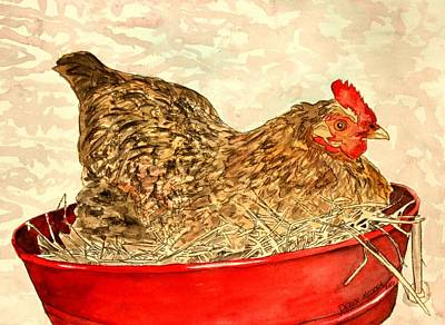 Realistic Painting - Chicken Hen Painting Art Print by Derek Mccrea