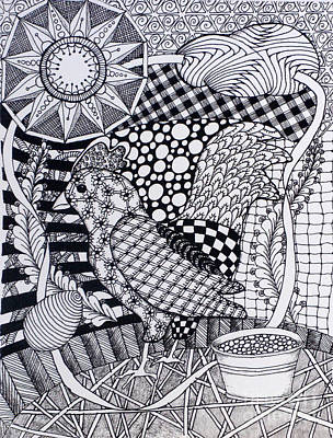 Patchwork Quilts Drawing - Chicken Quilt by Christine Peterson