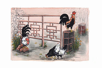 Chickens At The Gate Art Print by Nancy Pahl