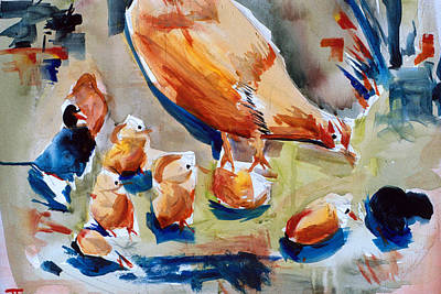 Painting - Chickens Eating by John Jr Gholson