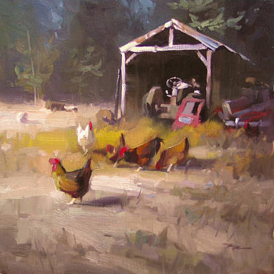 Richard Robinson Painting - Chickens In Paradise by Richard Robinson
