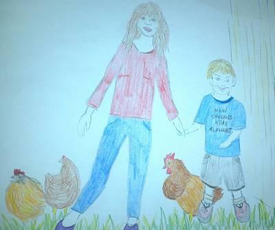 Chickens Art Print by Julie Butterworth