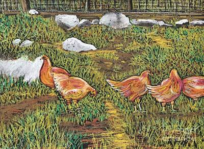 Pastel - Chickens by Reb Frost