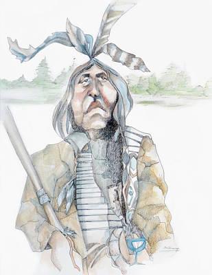 Chief And Blue Bird Art Print by Shane Guinn