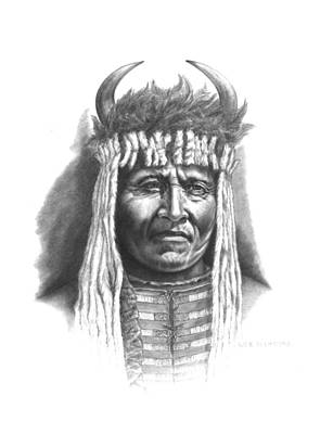 Pencil Native American Drawing - Chief Big Face by Lee Updike