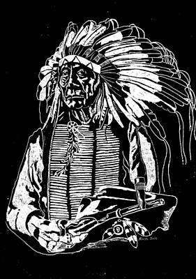Glassart Glass Art - Chief Red Cloud 2 by Jim Ross