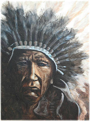 American Indian Painting - Chief Sad Truth by Kenneth McGarity