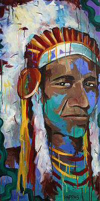 Indian Wall Art - Painting - Chiefing by Julia Pappas