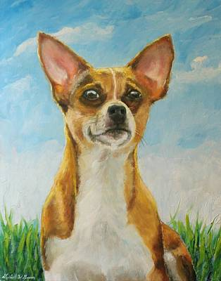 Chiwawa Portrait Wall Art - Painting - Chihuahua by Daniel W Green