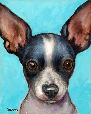 Dog And Toy Painting - Chihuahua Puppy With Big Ears by Dottie Dracos