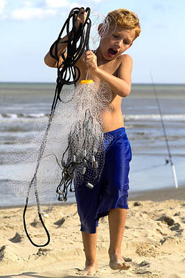 Photograph - Child Net Fishing by Trudy Wilkerson