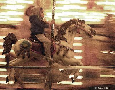 Child On Carousel Art Print by Grace Dillon