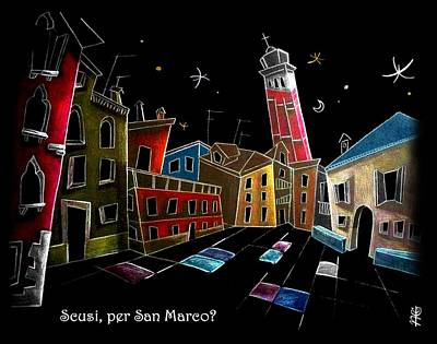 Children Book Illustration Venice Italy - Libri Illustrati Per Bambini Venezia Italia Art Print by Arte Venezia