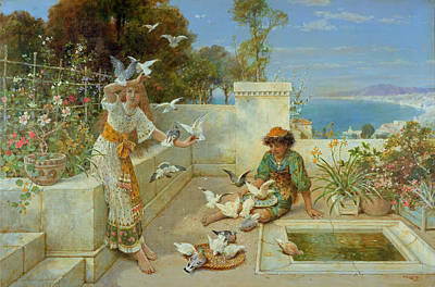 Bird Bath Painting - Children By The Mediterranean  by William Stephen Coleman