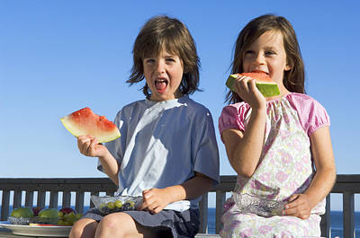 Children Eating Watermelon Art Print by Lawrence Lawry