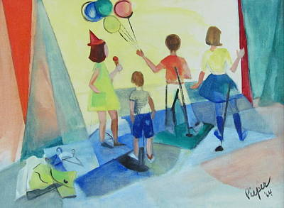 The 60s Painting - Children In Commerce 1964 by Betty Pieper